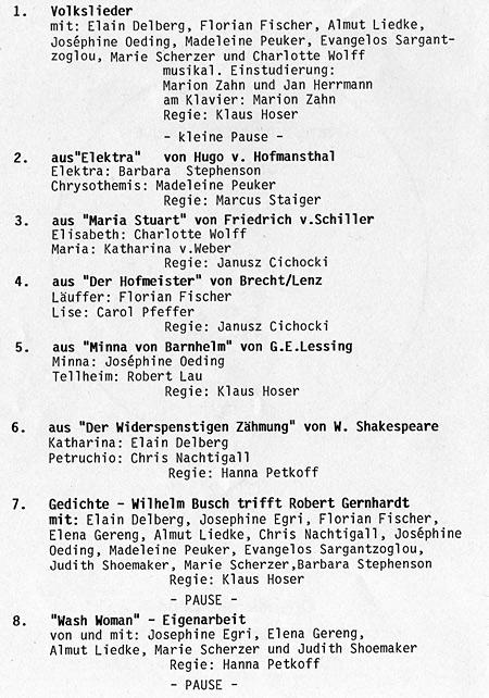 Schauspielschule Der Kreis, Öffentlicher Abend April 2013